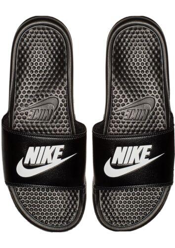 NEW Nike Benassi Mens 10 JDI Logo Black White Slides Sandals