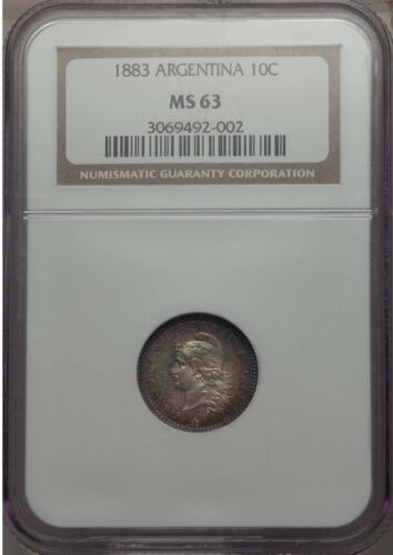 1883 Argentina 10 Centavos, NGC MS 63, Attractive Toning