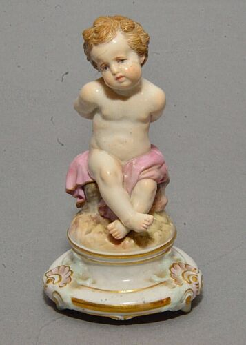 Old Meissen German Porcelain Figurine Sad Cupid Winged Cherub Hands Bound as is