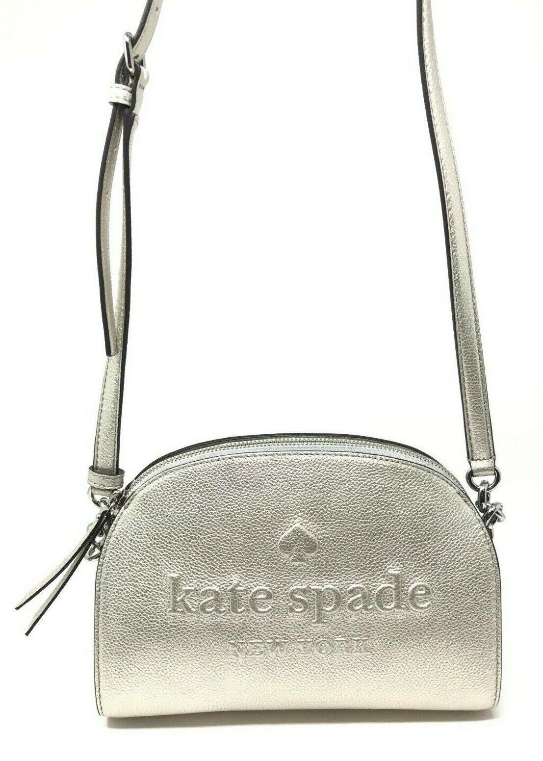Kate Spade Larchmont Avenue Logo Tori Metallic Silver Crossbody Bag