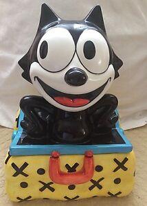 Felix the Cat Magic Bag Felix Clay Art 1999 Ceramic Cookie Jar