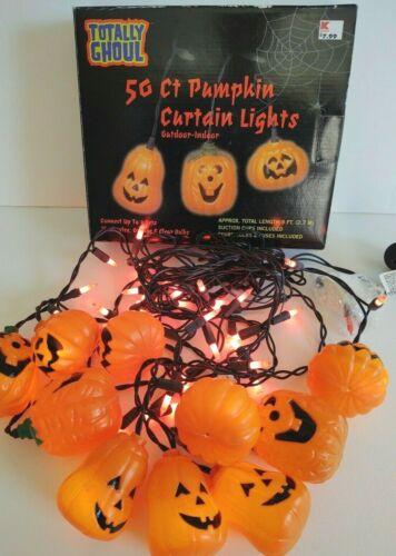 NIB TOTALLY GHOUL PUMPKIN HALLOWEEN CURTAIN LIGHTS 10 Pumpkins 50 Lights 9FT