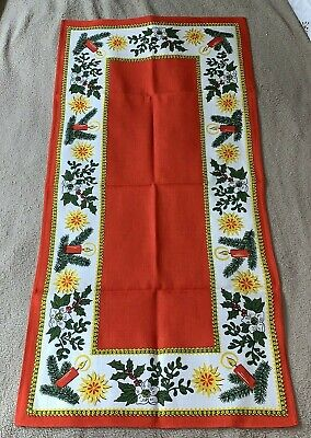 Vintage Swedish Linen Table Top Runner Retro Christmas Décor