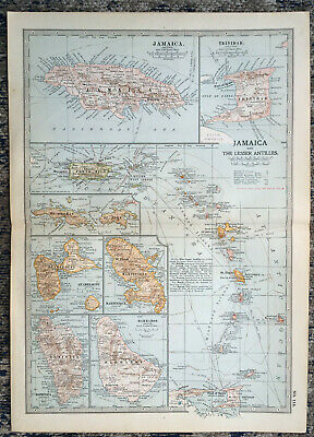 Antique Map Of Jamaica Trinidad Porto Rico Barbados Dominica St Thomas 1903