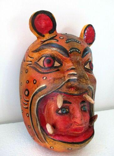 """Wood Carving Wall Mask Mexican Folk Art Jaguar Cat Devil Face Guerrero 11"""""""