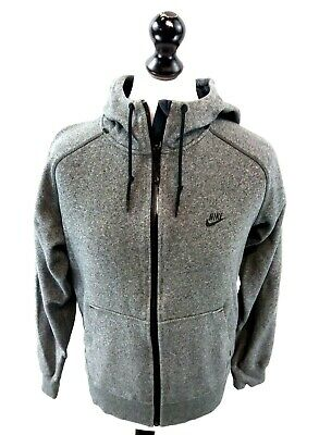 NIKE Mens Hoodie Jacket S Small Grey Polyester