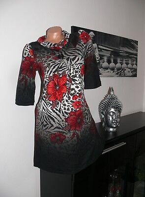 ♥ NEU  Strick Stiefelkleid Kleid Tunika Blumen  schwarz rot 36 38 40 42 44 gr ♥  online kaufen