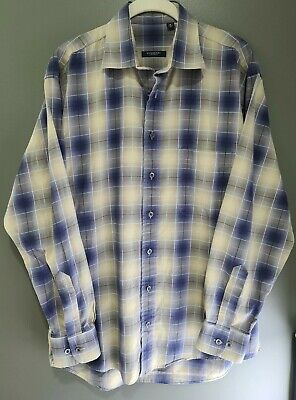 Burberry London Men's Long Sleeve Nova Check Plaid Classic Shirt Size Medium