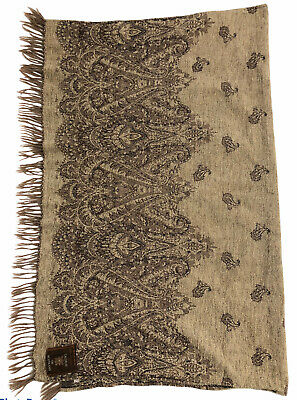 Calzeat of Scotland fringed throw wool acrylic paisley taupe beige 40 x 50 inch