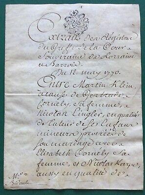Dokument aus Lothringen, Notarsschrift, Stempel auf Vellum um 1760,  Notar, 13