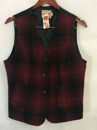 Vintage Woolrich Mens Rugged Outdoor Vest Size L Large Red Tartan Plaid NEW