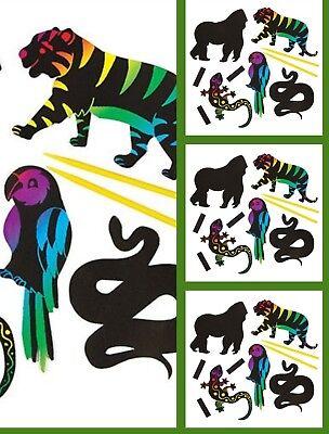 12 ASSORTED JUNGLE ANIMAL DESIGNS SCRATCH ART MAGNETS BRIGHT RAINBOW COLOURS 12 Assorted Jungle Animal