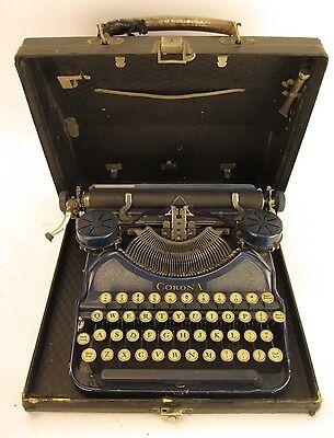 Vintage Blue Corona Four Portable Typewriter B5P 08714