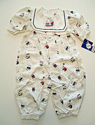 Vtg ABSORBA Outfit Sz 18 mos Girls Nautical Sailor One-piece Romper QUALITY NWT