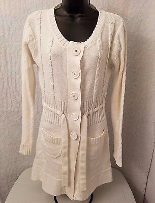 Chesley Womens Ivory Button Down Front Sweatercoat Jacket Coat Size M