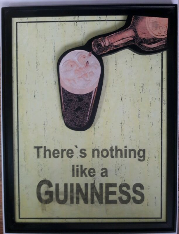 Wooden Guinness Beer Sign There
