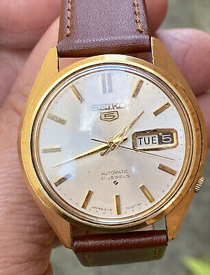 MENS SEIKO VINTAGE AUTOMATIC LEATHER STRAP WATCH SPAIRS OR REPAIR ONLY