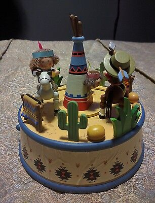 """Rare Cowboy and Indian """" Home On The Range"""" Initiative Musical Box by Enesco 1992"""