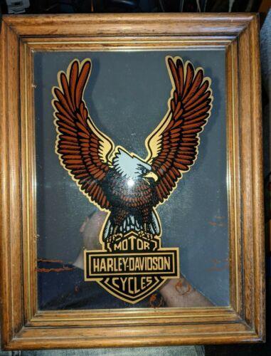 "Vintage 1970s Harley Davidson eagle logo framed wall mirror ~11""x14"" free car LP"