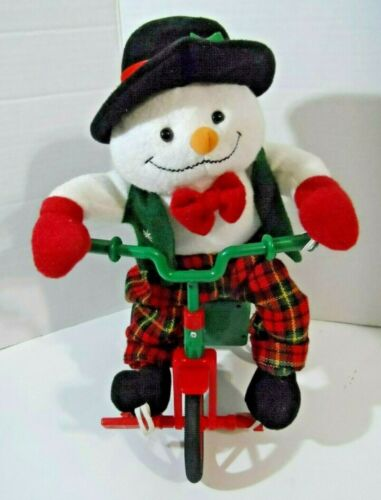 JSNY Christmas Musical Animated Snowman Tricycle Plush 13""