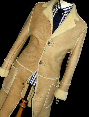 MENS VERSACE COUTURE TAN LEATHER SHEEPSKIN SHEARLING OVERCOAT JACKET COAT 42R