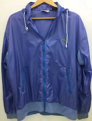 Izod Lacoste 1980's Vintage Purple Hooded Windbreaker Jacket Men's Size XL