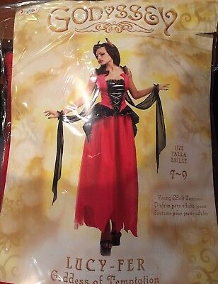 Red Lucifer LUCY-FER Goddess of Temptation Halloween Costume 7-9 Dress Horns dev