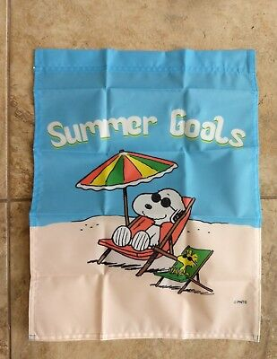 Snoopy Summer (Peanuts Snoopy Summer Goals 14x18 inches Garden Flag)