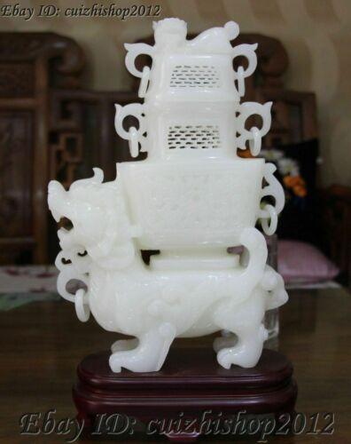 "15"" China Natural White Jade PiXiu Lion incense burner censer incensory Vase Zun"
