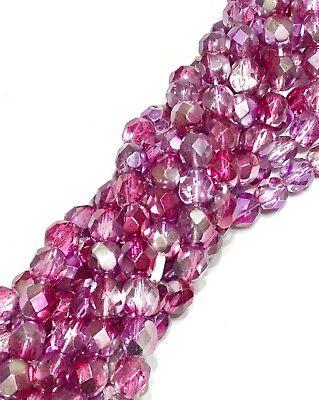 - 6mm Czech fire Polished 50 Beads Fuschia Crystal multi Colored Beads
