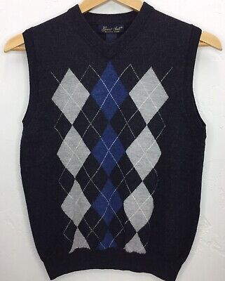 Garret Scott Men's Argyle Sweater Vest 100% Merino Wool Sz S Small