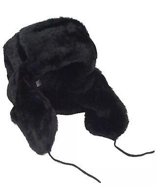 Russian Trapper USSR Army Winter Hat Ushanka BLACK SIZE 58 (M) KGB WAR STYLE