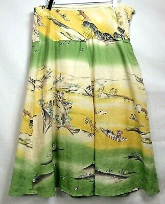 CITRON WOMENS SANTA MONICA Midi Skirt A-Line Linen  size M.        1270