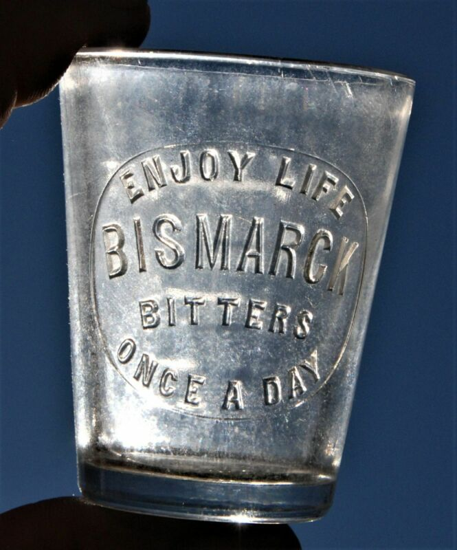 RARE BISMARCK BITTERS ENJOY LIFE ONCE A DAY EMBOSSED DOSE SHOT GLASS