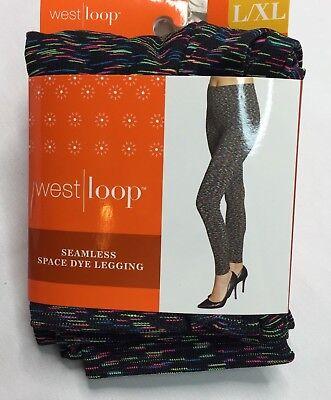 West Loop Black Multi Space Dye Seamless Leggings Ladies Leggings L/XL New