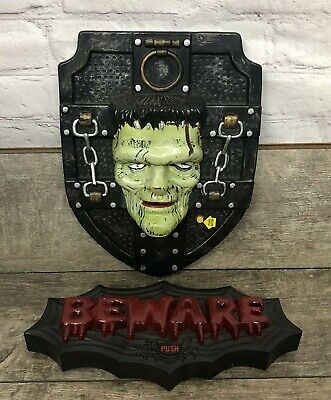 Halloween Gemmy Frankenstein Singing Head Take 1 Beware Light Up Sign Set Of 2