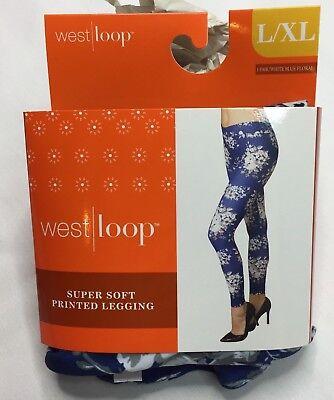 West Loop White Blue Floral  Leggings Ladies Leggings L/XL New