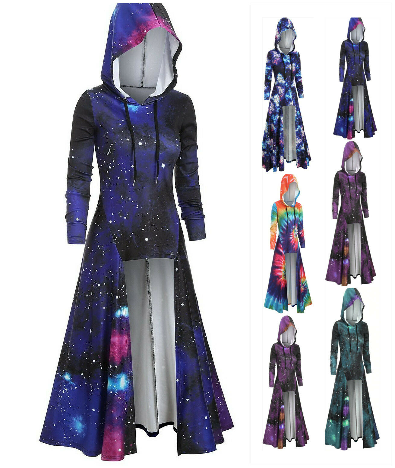 Plus Size Women Pullover Gothic Low Hem Steampunk Hooded Tops Sweater Coat High