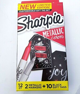 Sharpie Limited Edition Gift Tag Set 2 Metallic Markers Ruby Silver 10 Tags