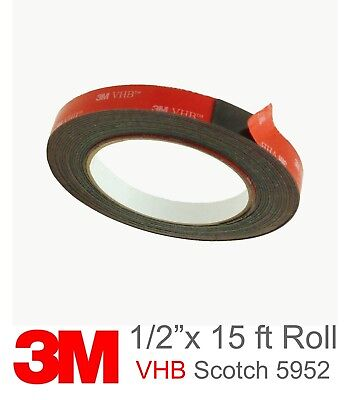 3m Scotch 5952 Vhb Double Sided Foam Tape 12 Inch X 15 Feet Black