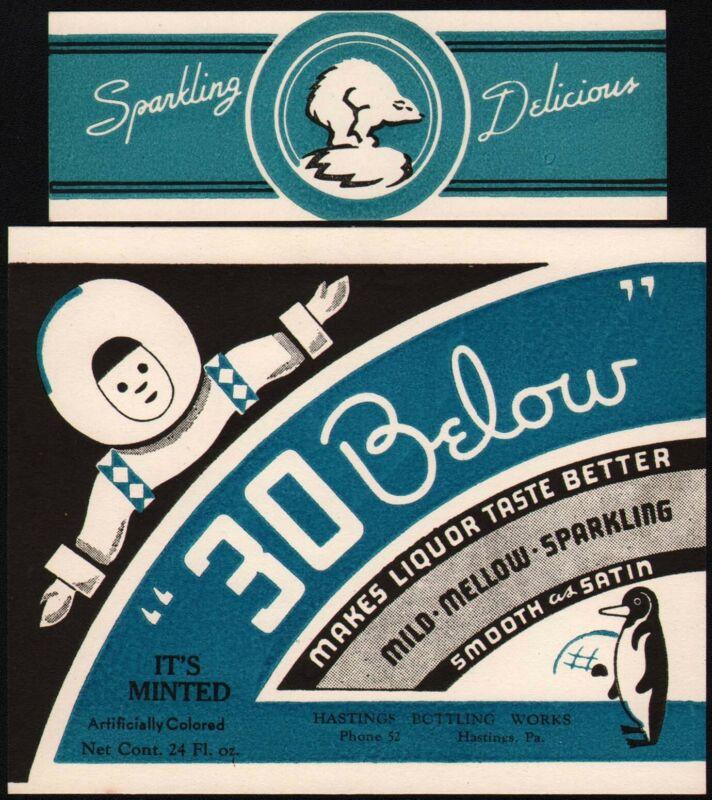 Vintage soda pop bottle label 30 BELOW Hastings PA unused new old stock n-mint+