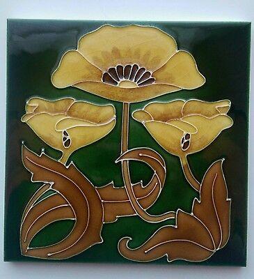Art Nouveau Reproduction Antique Fireplace Tile Tubelined Stovax Yellow Poppy