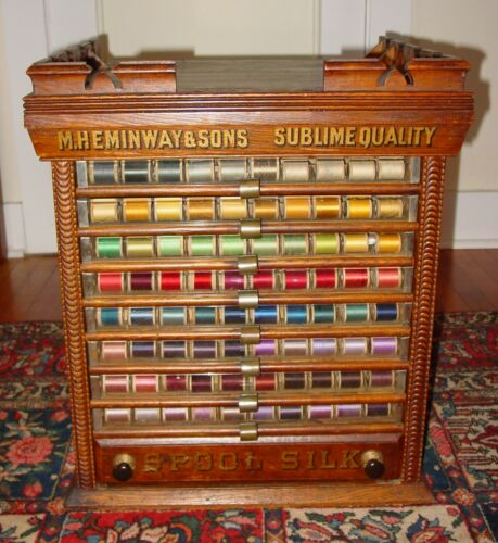 Antique 9 drawer Heminway spool thread cabinet-----15565