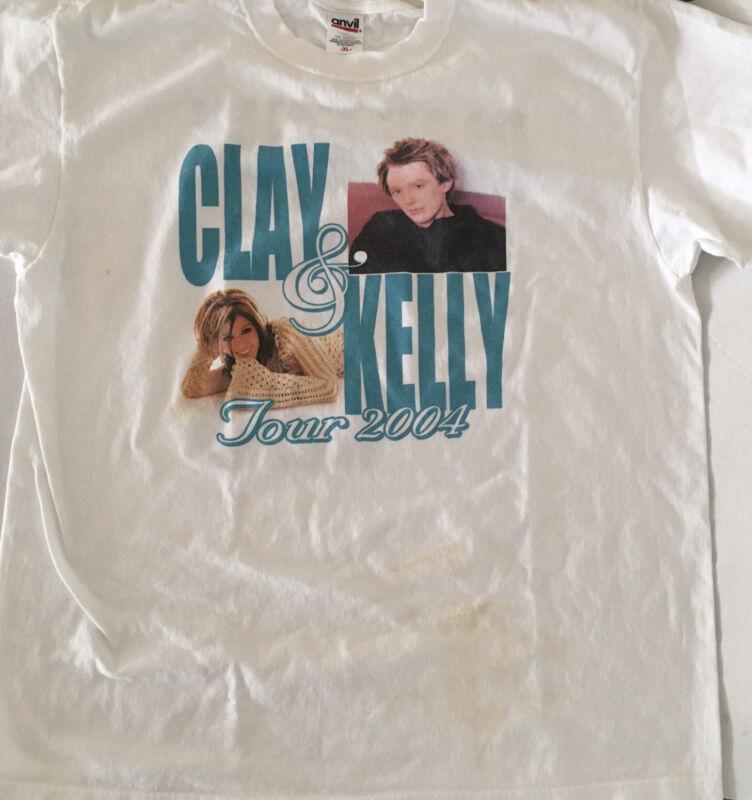 KELLY CLARKSON & CLAY AIKEN 2004 TOUR XL WHITE T-SHIRT