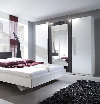 Kleiderschrank Schrank Schlafzimmer weiß / nussbaum schwarz 228cm 54027