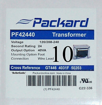 Lot Of 10 Pcs - 24 Volt Hvac Packard Transformers Pf42440 - 120208240v - 4031f