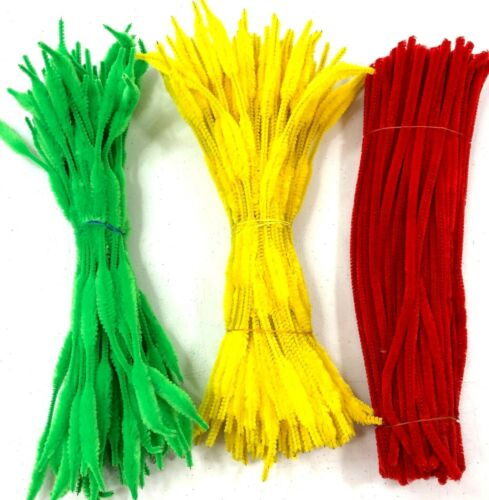 150 Fuzzy Bump Chenille Stems Pipe Cleaners Yellow Green + 100 Pipe Cleaners Red