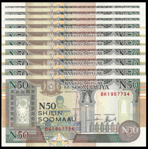 SOMALIA 50 SHILLINGS 1991 P R2 UNC (10 PCS)