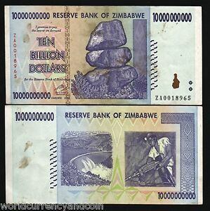 ZIMBABWE $10,000,000,000 2008 10 BILLIONS ZA PFX RARE REPLACEMENT NOTE