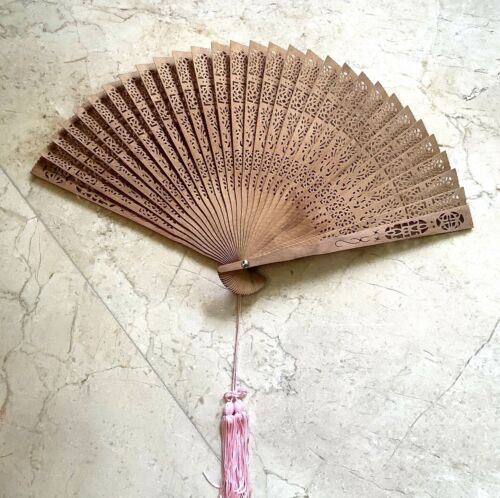 Antique Chinese Folding Wooden Hand Fan